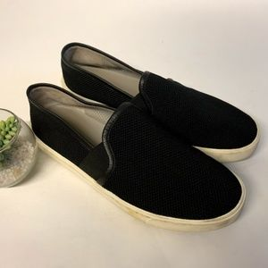 VINCE. Black Mesh Leather Preston Slip On Sneakers
